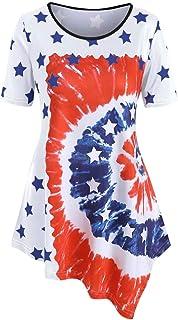 Allywit Plus Size Women America Flag Printed O-Neck Short Sleeve Top T-shirt Loose Irregular Shirt Loose Fit Tunic Tops
