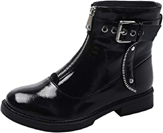 LowProfile Mid Calf Riding Combat Boots for Women Studded Ankle Buckle Strap Block Heel Platform Short Boots with Zipper