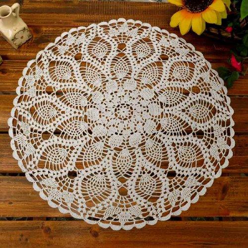 kilofly de crochet napperons en coton pour table, canapé, motif : Nénuphar, 50,8 cm, Coton, Weiß, 51 cm