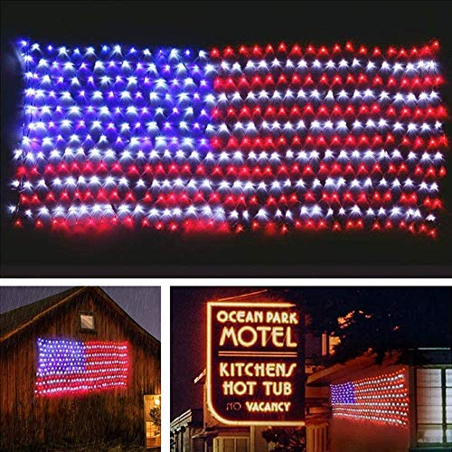 MZD8391 American Flag Lights, 420 Super Bright LEDs Flag Net Light,Waterproof USA Flag Light for Independence Day Yard Garden Party Christmas Decorations (Upgraded Version)