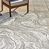 Gertmenian 22285 Outdoor Rug Freedom Collection Nature Themed Smart Care Deck Patio Carpet, 8x10 Large, Abstract Ocean Current Gray Cream