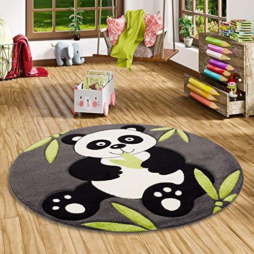 Savona Kinder Spiel Teppich Kids Pandabär Grau Grün Rund in 3 Größen