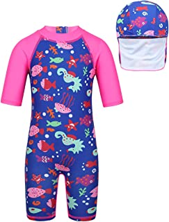 QinCiao Kids Girls One Piece Short Sleeve Rash Guard Swimsuit Vest Anti-UV UPF 50+ Wetsuit Swimsuit with Sun Hat