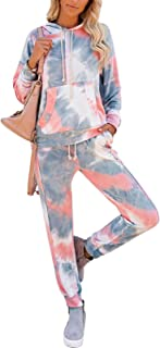 Fixmatti Women 2PC Front Pocket Hooded Sweatpants Sport Tracksuit Jumpsuit
