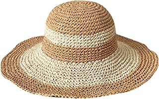 Adela Womens Foldable Wide Brim Roll-up Straw Hat Beach Big Sun Cap UPF 50