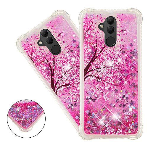 COTDINFOR Huawei Mate 20 Lite Funda Líquido Cute 3D Glitter Sparkle Bling Quicksand Caso Silicona Blanda Protectora Carcasa para Huawei Mate 20 Lite Cherry Blossoms YB.