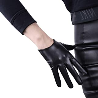 DooWay 6-inch Short Black Faux Patent Leather Touchscreen Gloves, Cool Handmade Unlined Party Show Women Finger Gloves