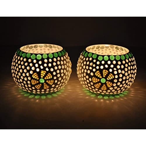 TIED RIBBONS Green Fusion Mosaic Glass Votives TeaLight Candle Holder Votive TIED RIBBONS Set of 2 Mosaic Glass Tealight Candle Holders for Side or Center Table Dining Room Christmas Lighting Home Decoration and Gifts(Glass, Pack of 2)
