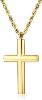 Simple Stainless Steel Cross Pendant Necklace Men Women, 20-24 Inch Twist Rope Chain
