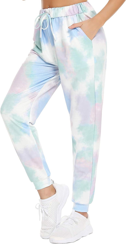Mathea High Waisted Sweatpants Tie Dye Joggers Pants Drawstring Yoga Workout Lounge Pants with Pockets