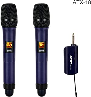 Wireless Microphone - ATNY ATX-18 UHF Handheld Wireless Microphone System – 2019 Updated Model Frequencies 902-928 MHz band – 10 Channel with LCD Display and 2 Mics(Double Wireless Microphone, Black)