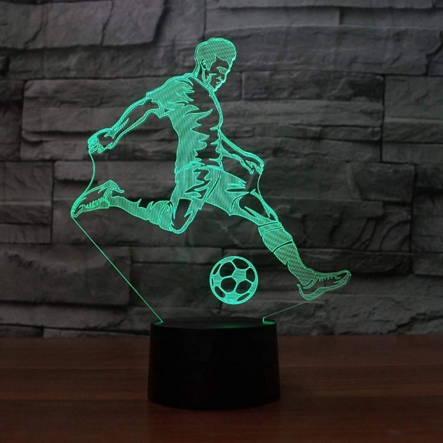 Zonxn 3D Led Table Lamp Kids Bedroom Bedside Sleep Playing Football Modelling Touch Button USB Home Decor Soccer Player Night Lights