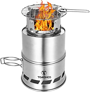 Camping Stove Camp Wood Stove Portable Foldable Stainless Steel Burning Backpacking Stove for Outdoor Hiking Picnic BBQ-Upgraded Version L