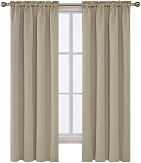 Deconovo Beige Blackout Curtains Rod Pocket Curtain Panels Room Darkening Curtains for Bedroom 52 W x 72 L Inch 2 Panels
