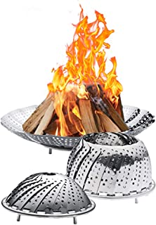 KUAICHAI Portable Fire Pit Outdoor Space Saving Foldable Stainless Steel Fire Bowl,Wild Travel Wood Burning and Camping Picnic Stove Bonfire Best Choice