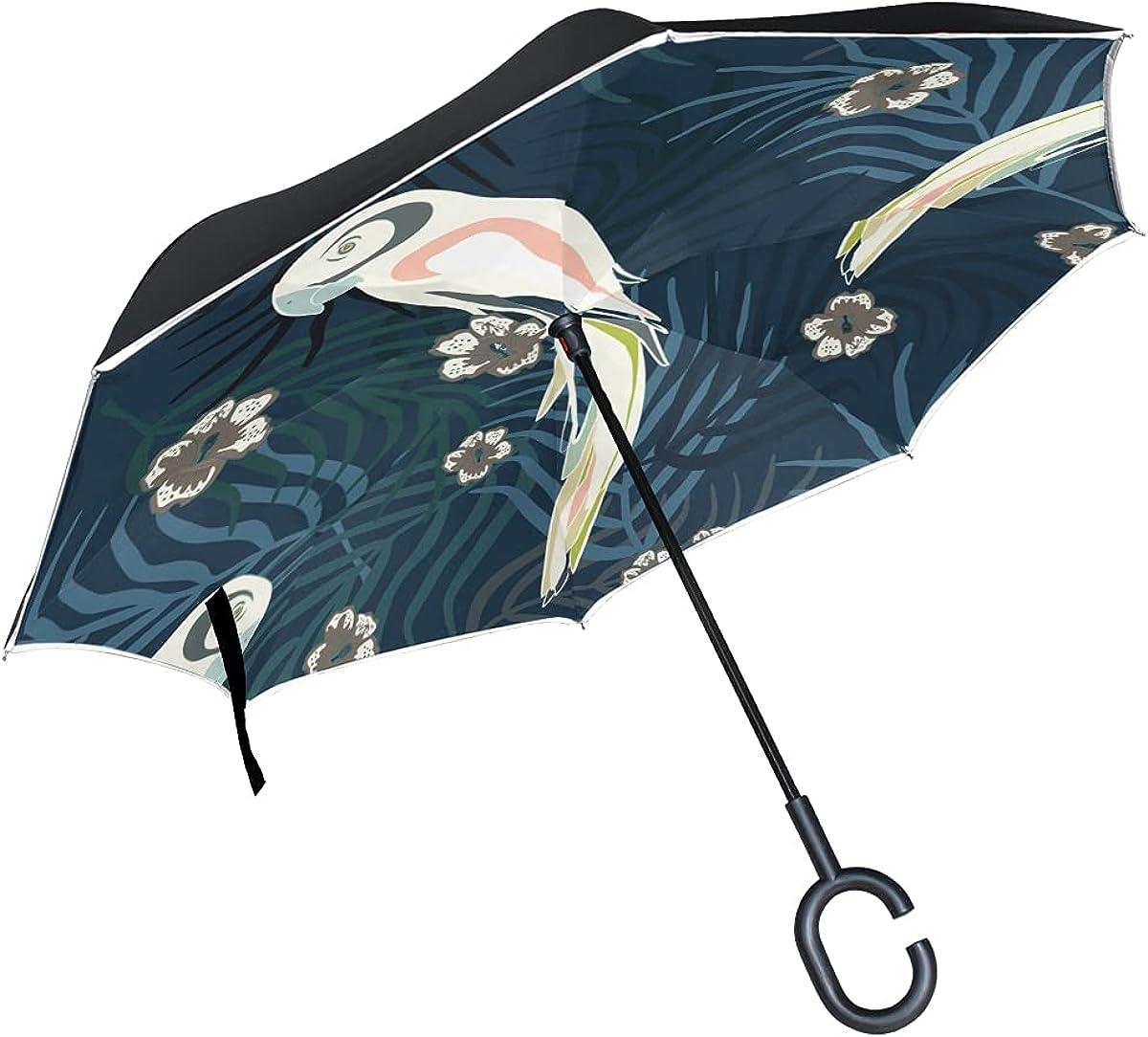 Inverted Umbrella Exotic Parrots White Tropical Night Umb Jungle Soldering Direct sale of manufacturer