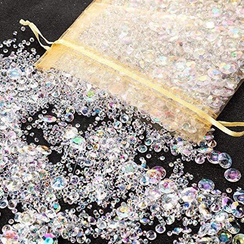 4000 Stücke Bling Diamant Acryl Edelstein Tisch Streuen Kristalle 3 mm, 6 mm, 10 mm Tisch Dekoration für Vase Füller Weihnachten Hochzeit Geburtstag Party (AB Farben)