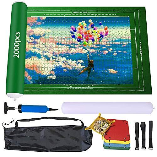 Alfombra puzzle para puzzles de fieltro con hasta 1500 2000 piezas puzzle Pad portátil puzzle Roll Jigsaw con bolsa de almacenamiento (verde, 2000)