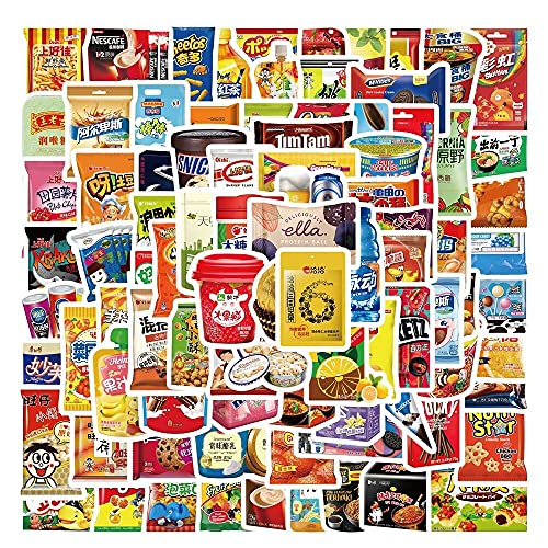 ZIWEI Dibujos Animados Divertidos Marca Snacks Y Bebidas Graffiti Pegatinas Para Portátil Coche Pad Equipaje Teléfono Bicicleta Calcomanía Juguete Etiqueta engomada 90pcs/Lot