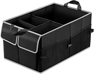 SUNFICON Collapsible Car Trunk Organizer Car Storage Container Box w Pouch Bag 2 Front Bags 4 Mesh Side Pockets 1 Large Bag Strap w Hook Non Slip Bottom for Vehicle Van SUV Garage Closet Boat Black