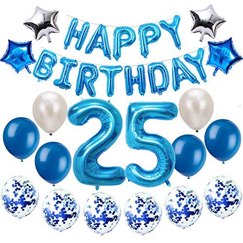 Oumezon 25 Geburtstag Dekoration Blau, 25. Geburtstag deko für Mädchen Jungen Happy Birthday Girlande Banner Folienballon Konfetti Luftballons Deko Geburtstag Party Anzahl Ballons
