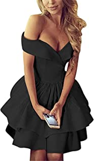 Off Shoulder Homecoming Dresses Short Satin A Line Formal Prom Dress for Women 2019