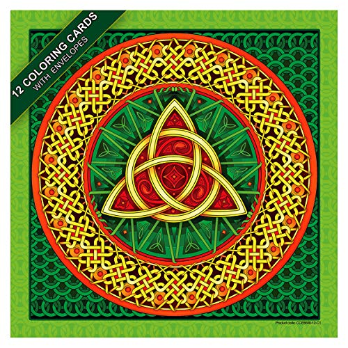 Celtic art. A coloring card set of 12 cards with colored envelopes and closure stickers. Square 6 inches cards printed on card stock to create memorable greeting cards or thank you notes
