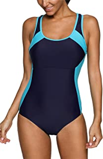 maysoul Women Sports One Piece Swimsuits Colorblock Racerback Bathing Suits