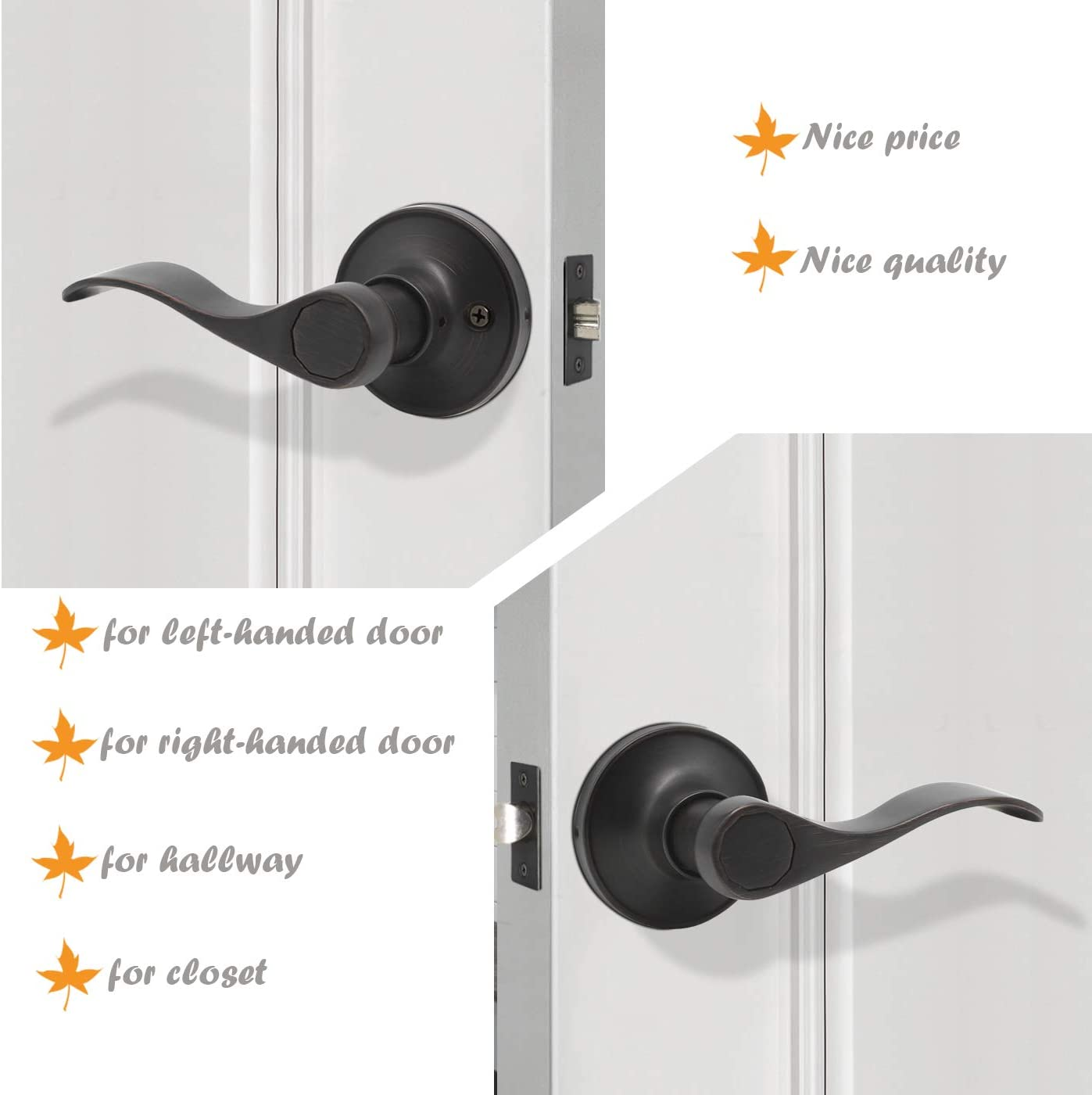 Gobrico 6 Pack Hall and Closet Wave Door Levers in Satin Nickel Interior Passage Door Handles Locksets