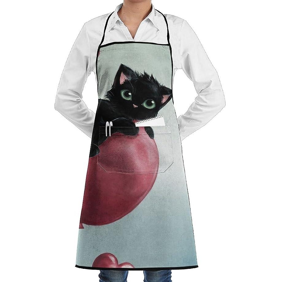 Kitchen Bib Apron Neck Waist Tie Center Kangaroo Pocket Kitten Cat Balloon Waterproof