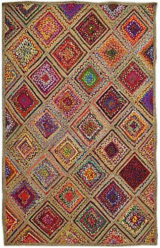 Bakero Teppich, Baumwolle/Jute, Mehrfarbig, 180 x 120 x 0.8 cm