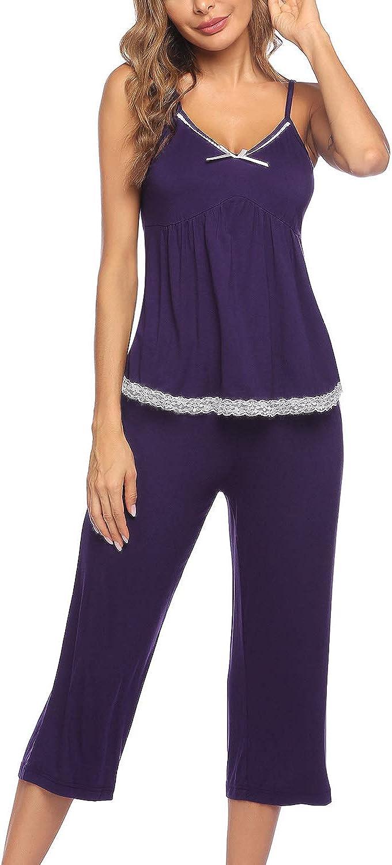 ELOVER Womens Pajamas Set Capri Sets Cami Top and Capris Pants Pjs Set Sleepwear S-XXL