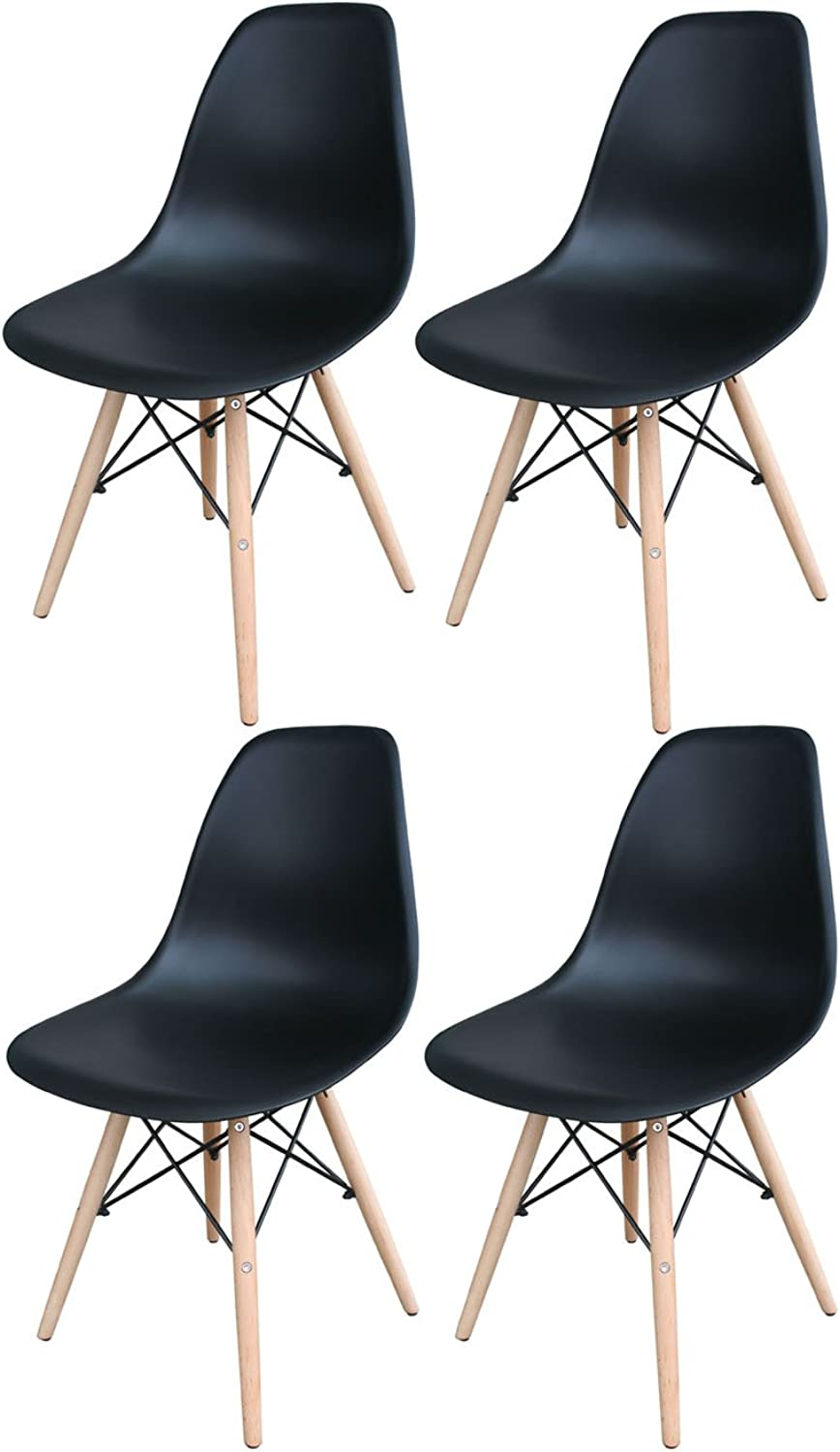 Offex Set of 4 Plastic Scoop Seat Accent Dining Chairs - Black