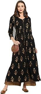 Varanga Women's Rayon a-line Salwar Suit Set
