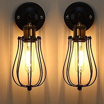 Apliques LED Jaula de alambre interior Edison Vintage Retro Cafeter/ías met/álicas Aplique antiguo Jaula de tubo Iluminaci/ón loft Blanco c/álido