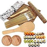 YF 12 Pcs Sushi Making Kit,Bamboo Sushi Kit Professional Sushi Making Set, 2 Sushi Rolling Mats, 5 Pairs Chopsticks, 2 Plates, Rice Paddle, Bamboo Knife, Canvas Bag