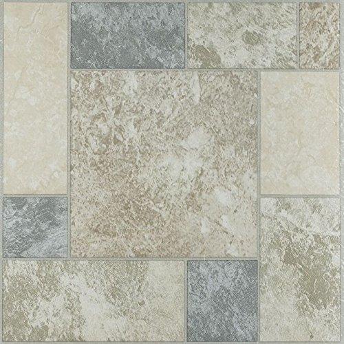 Ben&Jonah Park Avenue Collection Nexus Marble Blocks 12 Inch x 12 Inch Self Adhesive Vinyl Floor Tile #327-20 Tiles
