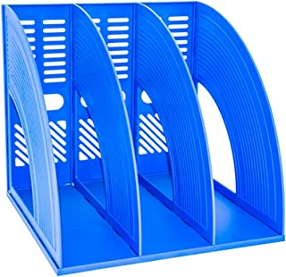 Organizador de archivos SAYEEC de plástico resistente con tres archivadores para guardar y mostrar documentos, revistas o archivos, manteniendo ordenado el escritorio, o la estantería