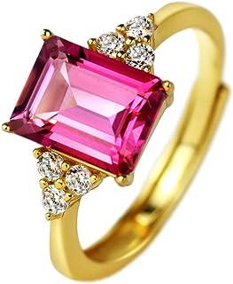 michooyel S925 2ct الوردي توباز خواتم الزمرد قطع الماس خواتم رقيقة مجوهرات جيدة للنساء الفتيات