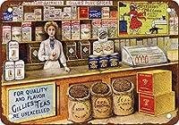レトロなアルミ金属サインギリーズコーヒー、紅茶、スパイスアイアンポスター絵画ティンサインヴィンテージ壁の装飾カフェバーパブホームビール装飾工芸品