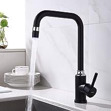 Lonheo Zwarte Keukenkraan met RGB LED Moderne Wastafelkraan voor Keuken 360 ° Draaibaar Kraan
