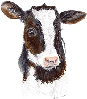 Baby Cow Watercolor Nursery Wall Art Available In Various Sizes, Farm Nursery Art, Brown, White, Pink Print - Various Sizes Available