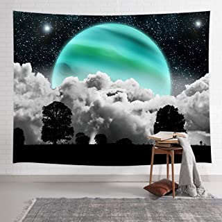 NYMB Psychedelic Moon Stars Tapestry, Black Tree Clouds Under Starry Night Art Print, Trippy Green Moon in Galaxy Space Tapestry Wall Hanging Art for Living Room Bedroom Dorm, 60X40 Inches