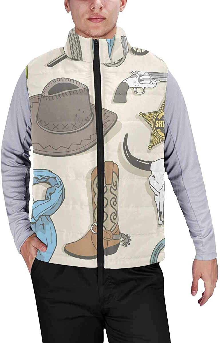 InterestPrint Warm Outdoor Sleeveless Stand Collar Vest for Men Pattern of Crabs and Sea Stars