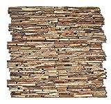 HO-006-1 Teak Holz Paneele auf Netz - Teakholz 3D Wandverkleidung Verblender Wandtatoo Wandfliese Wanddekoration - Fliesen Lager Verkauf Stein-Mosaik Herne NRW