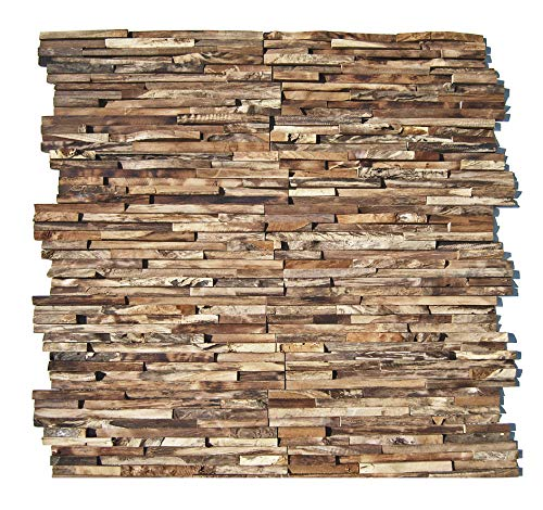 HO-006-1 Teakholz Paneele - 3D Wandverkleidung Holz Wandverblender Wandtatoo Holz-Design Wandfliese Wanddekoration - Fliesen Lager Verkauf Stein-Mosaik Herne NRW