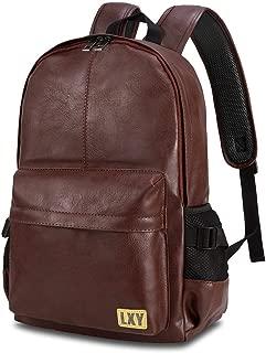 LXY Brown Leather Backpack Laptop Bookbag for Women Men,Vintage Faux Leather Backpack School College Bookbag Campus Backpack Weekender Travel Daypack
