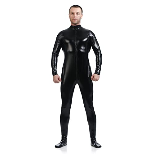 BlackSunnyDay Front Zip Open UniColor Shiny Spandex Zentai Catsuit aa461dc5f