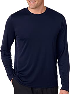 Hanes Men's Long Sleeve Cool Dri T-Shirt UPF 50+, X-Large, 2 Pack ,1 Graphite / 1 Navy