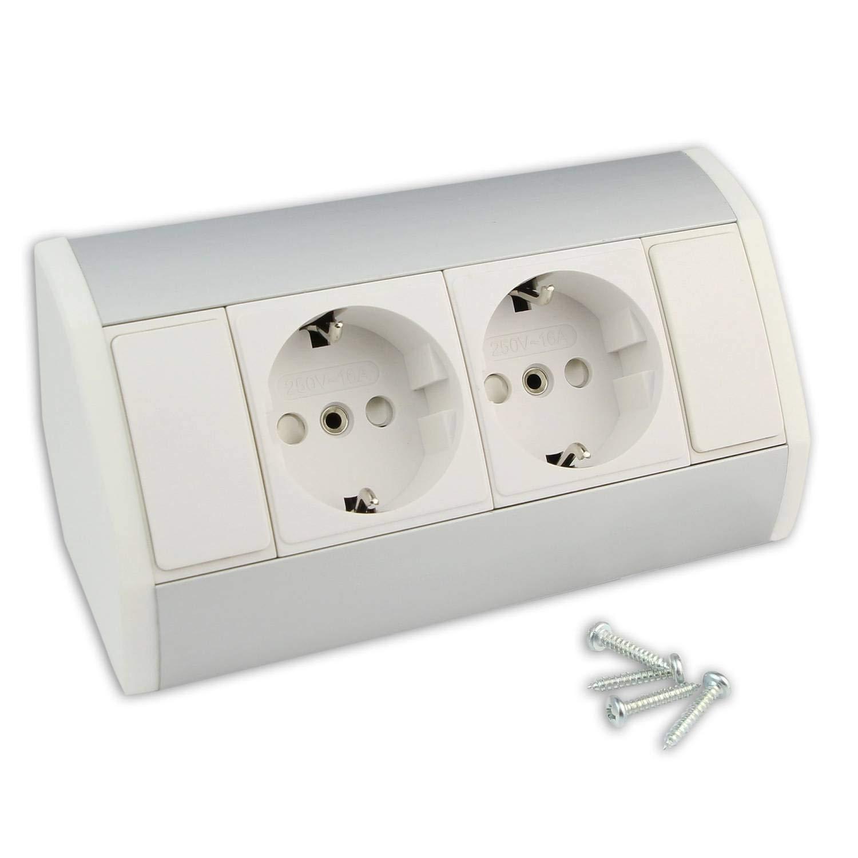 Muebles - caja de enchufe blanca con 2x Schuko - caja de enchufe angular de aluminio de alta calidad ideal para la encimera, la mesa o debajo de la caja de enchufe